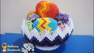 3d origami Easter basket eggs tutorial | DIY paper Easter basket eggs , Easter decoration