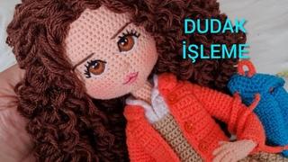 AMİGURUMİ BEBEKTE DUDAKTAKİ SON İŞLEM (How to make lips for your crochet Dolls)