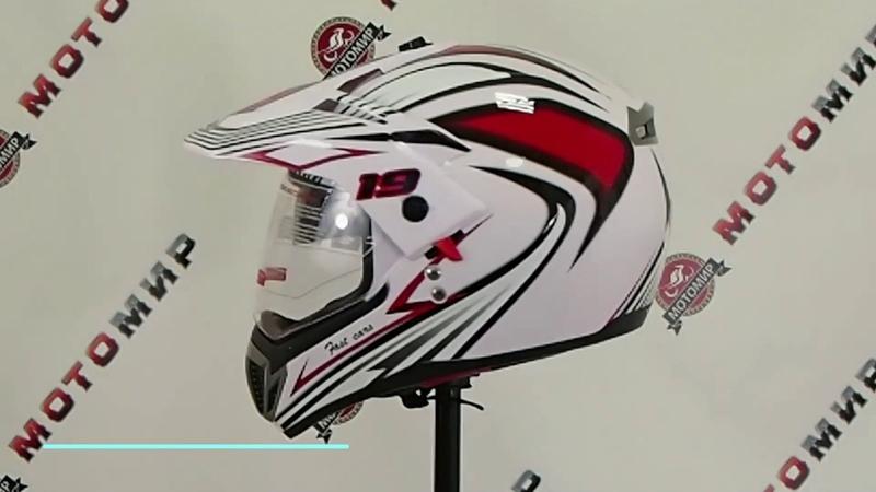 Шлем туринг кросс со стеклом и очками COBRA JK103DV бело черно красный