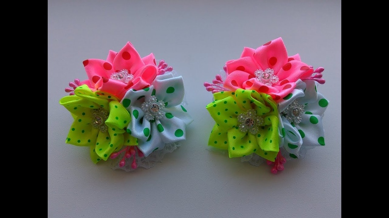 Бантики из атласных лент 2 5 см МК Канзаши Bows of satin ribbons 2 5 cm MK Kanzashi