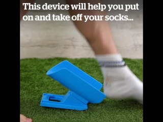 This device will help you put on and take off your socks .