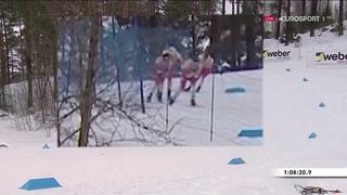 Момент падения Большунова и Холунна в скиатлоне