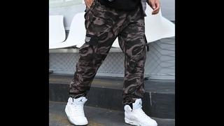 Бренд thoshine мужские повседневные брюки карго, джоггеры, эластичная талия, хлопок, карманы, мужские камуфляжные брюки,