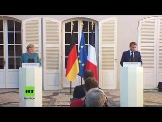 LIVE: Pressekonferenz von Angela Merkel und Emmanuel Macron in Bregancon