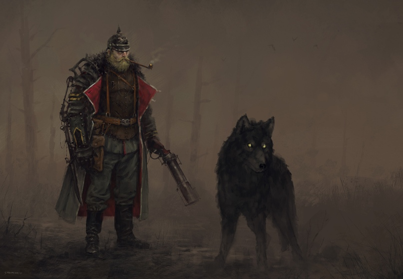 Гюнтер фон Дуйсбург и его волк Нахт (Ночь)