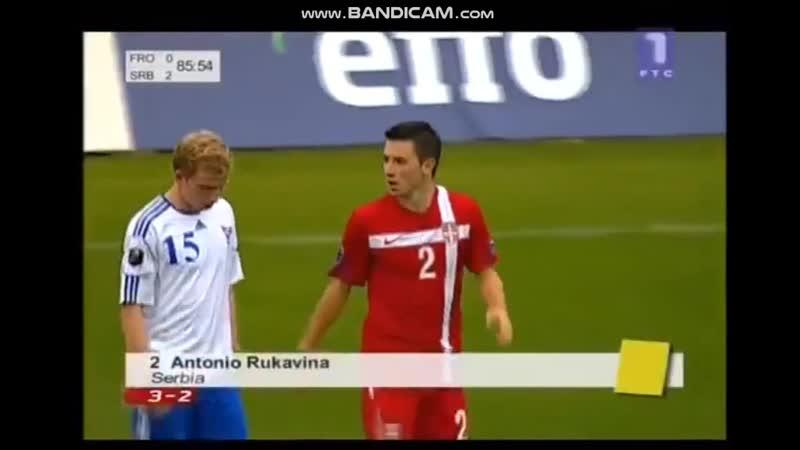 Faroe-Serbia Q-Euro-2012 Antonio Rukavina foul Y.C.