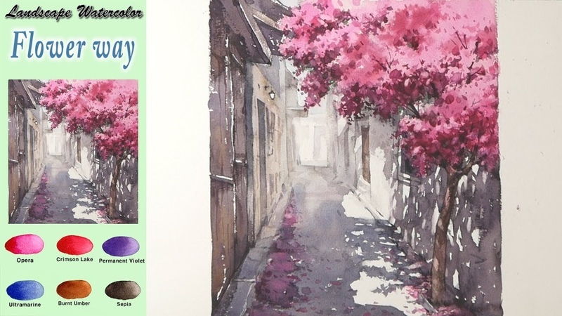 Landscape watercolor - Flower way (wet-in-wet, Arches rough) NAMIL ART