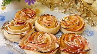 Всего из 3-х ингредиентов.Оригинальная выпечка к чаю. 😯УДИВИТ ЛЮБОГО.Розы из яблок и слоеного теста!