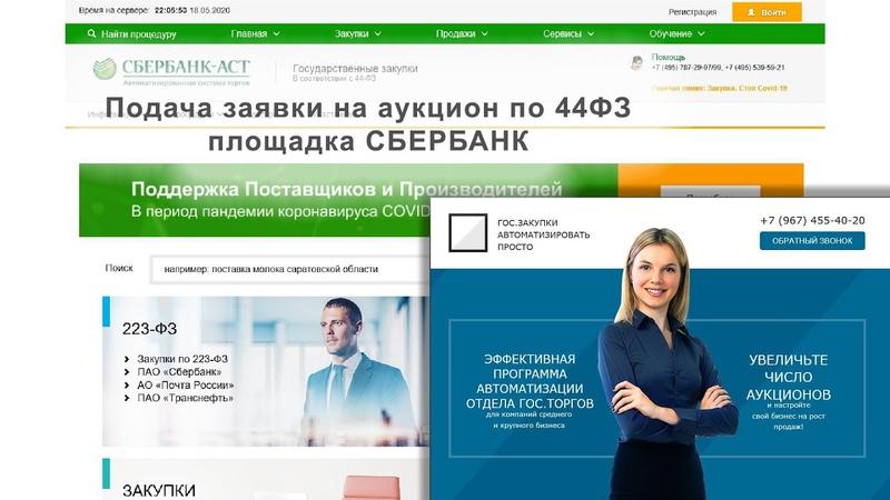 Подача заявки на электронный аукцион 44ФЗ Сбербанк АСТ