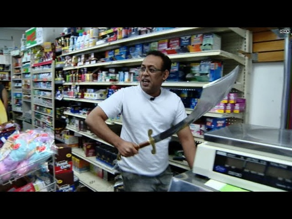 Robber pulls out machete Clerk pulls out sword