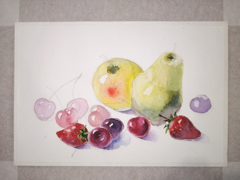 ОНЛАЙН-УРОК по рисованию «Клубника и черешня», изображение №12
