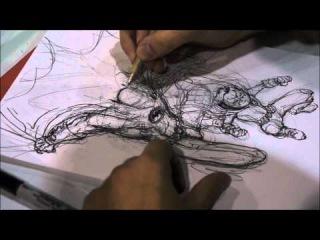 Chris Burnham Drawing/Sketching Batman and Robin HD 1080P