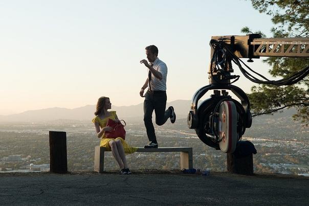 Эмма Стоун и Райан Гослинг на съёмочной площадке «Ла-Ла Ленда», 2015 год