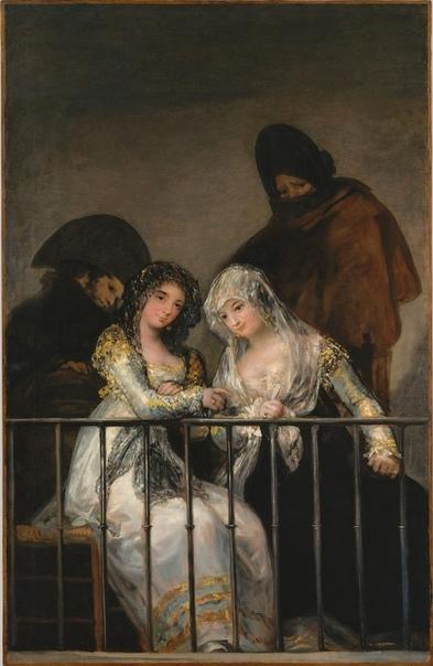 «Махи на балконе», Франсиско Гойя 1814г. Холст, масло. Размер: 194.9×125.7 см. Метрополитен-музей, Нью-ЙоркСюжет этого полотна традиционен для испанского искусства. «Махо» и «махи» - так во