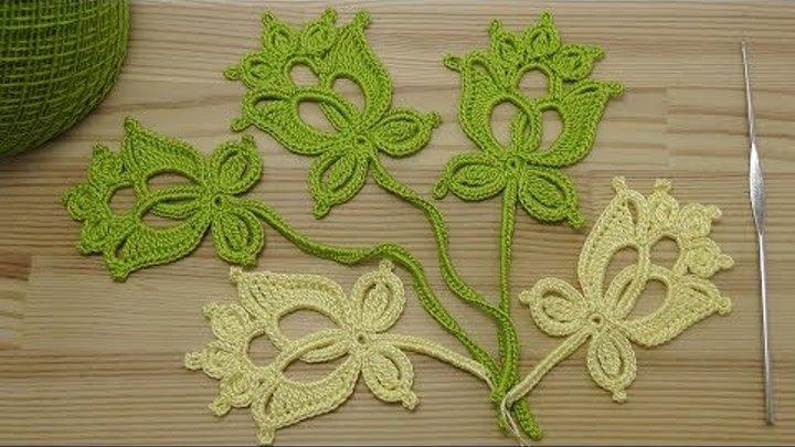 Вязание мотива БУТОН ЦВЕТКА для ирландского кружева Crochet Irish Lace
