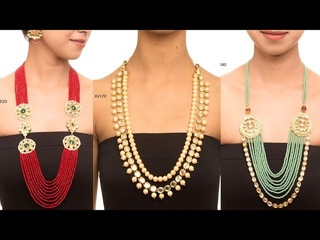 Cutting Beads With Kundan Work Long Mala Designs
