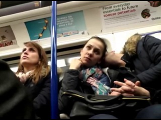 Girls check out guys crotch bulge on train