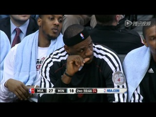 [HD]LeBron James Biting His Fingernails | Heat Vs Timberwolves | March 4th, 2013