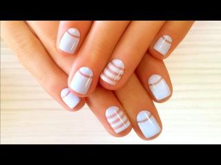 Дизайн ногтей гель-лак shellac - Лунный маникюр + роспись (видео уроки дизайна ногтей)