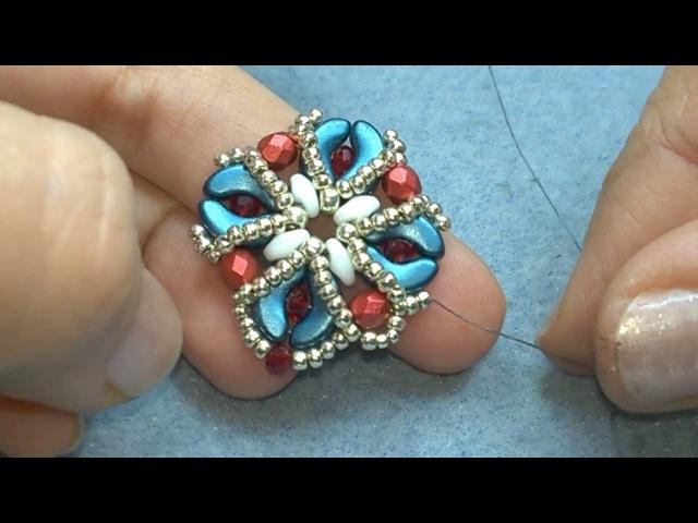 DIY Tutorial orecchini Narcissa con perline Arcos Superduo mezzi cristalli e cipollotti