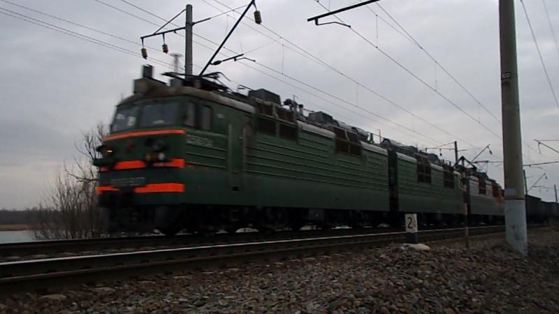 ВЛ80С-937/947 (ТЧЭ-4 Лиски-Узловая, ЮВЖД), перегон Кизитеринка-Александровка, 14 февраля 2016 года.