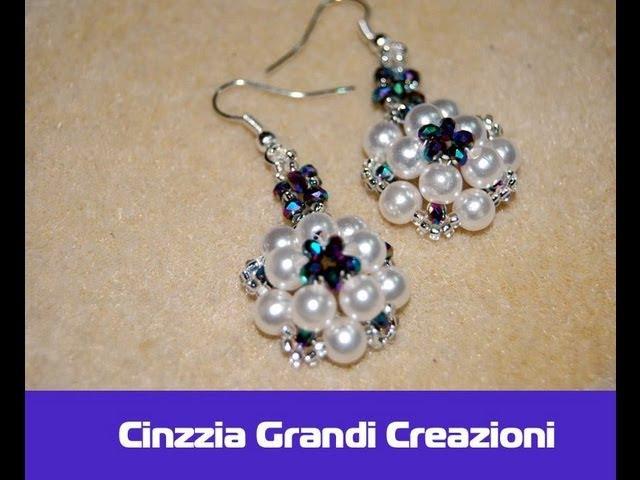 Orecchini Rosetta con perle e cipollotti di cristallo