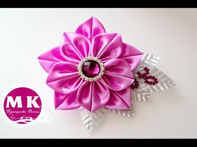 Мастер класс Канзаши Цветок из атласных лент Брошь Brooch satin ribbons