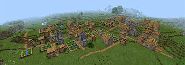сид на карту с большой деревней для майнкрафт 0.14.0 #6