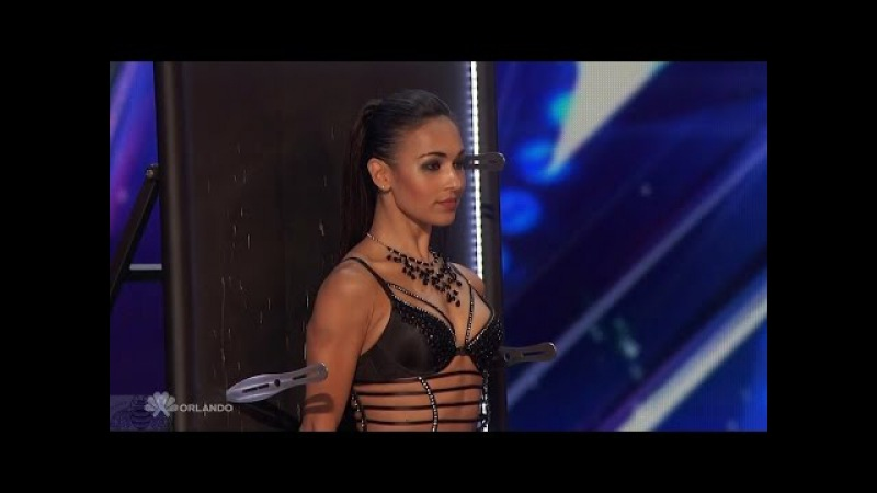 Americas Got Talent 2016 Alfred Anna Silve Sexy Knife Throwing Act Full Audition Clip S11E04
