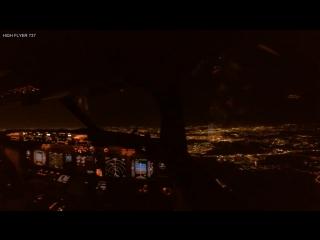 Полет Boeing 737 800 над ночной Москвой. Вид из кабины пилотов