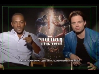 Anthony Mackie and Sebastian Stan talking with a russian