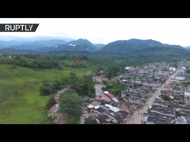 Беспилотник облетел место схода селевого потока в Колумбии унесшего жизни более 250 человек 02 04 2017