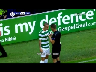 Celtics Leigh Griffiths booked after bottles and coins were thrown at him during Linfield game