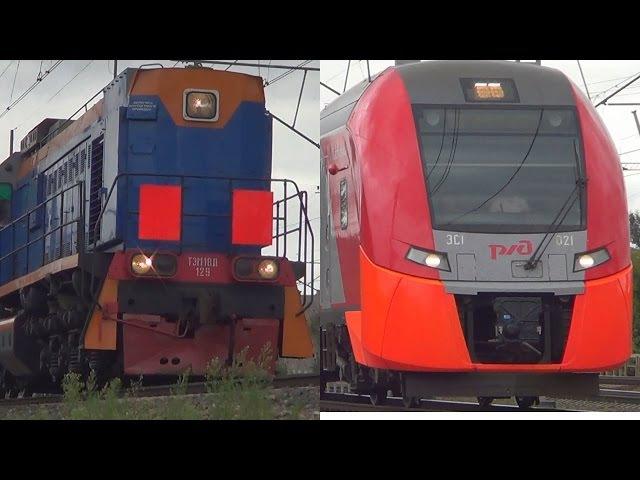 Электропоезда ЭС1-021 ЭС1-020 и тепловоз ТЭМ18Д-129