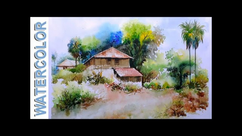 Watercolor Painting For Beginners Village mud House Scenery Tutorial By Nihar Debnath