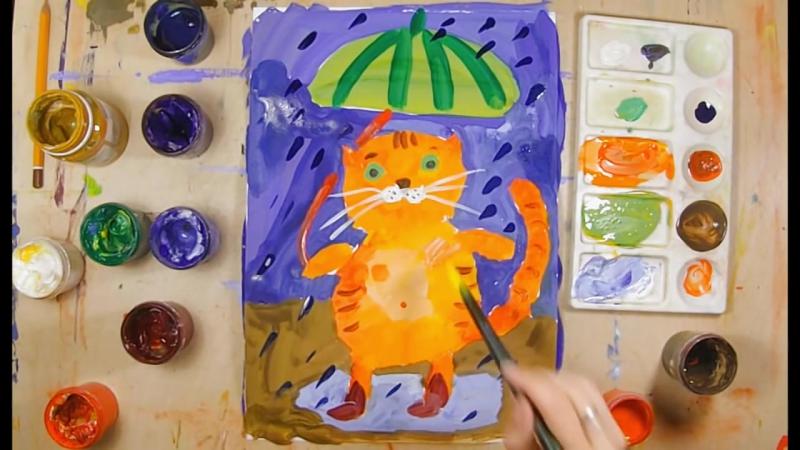 Как нарисовать кота урок рисования для детей 4 7 лет