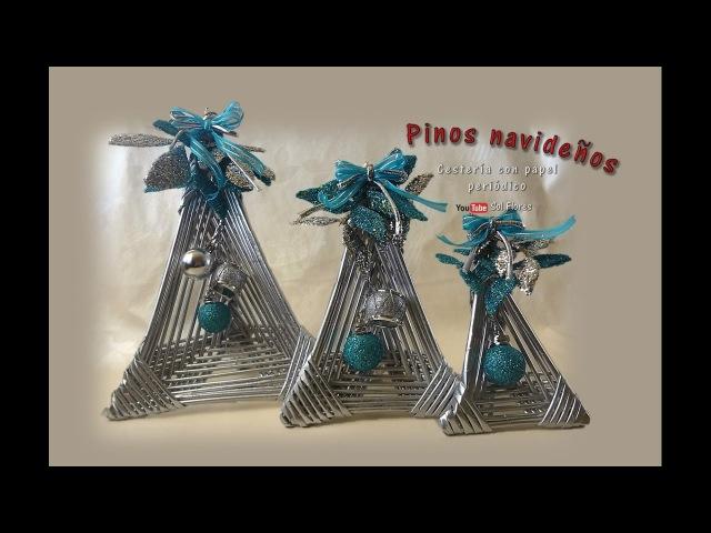Pinos navideños cestería con papel periódico Christmas pins basketry with newspaper