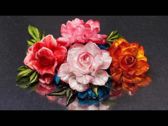 Цветок РОЗЫ спрей розочки . Мастер класс. КАНЗАШИ DIY Ribbon Flower Kanzashi