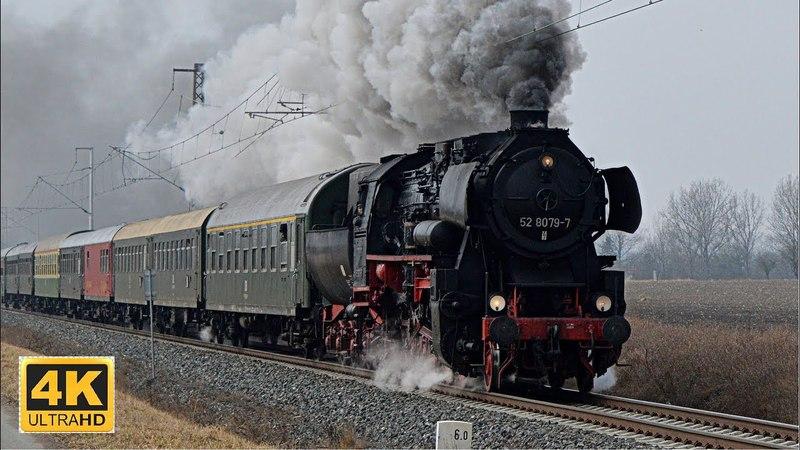 Parní lokomotiva 52 8079-7 na R 10021 Z Německa do Hradce Králové 24.3.2018 (4K)