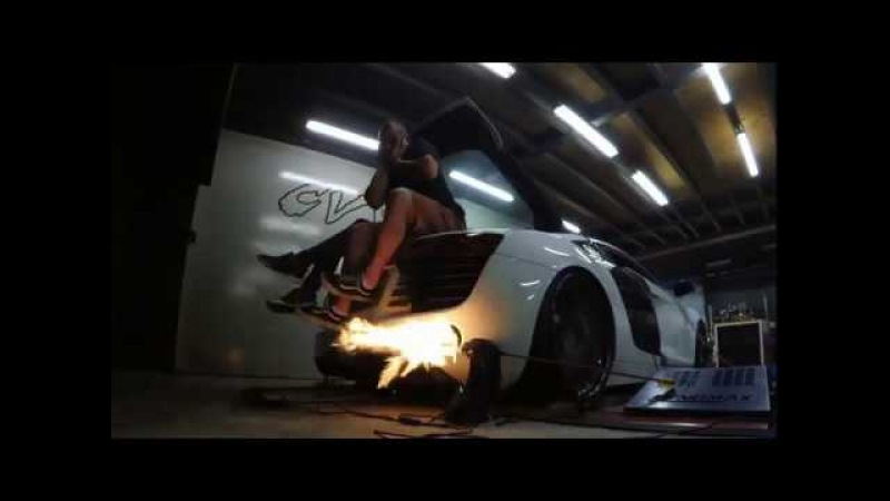 Audi R8 with CFI designs turbo kit, remapped by Etuners, flames on dyno
