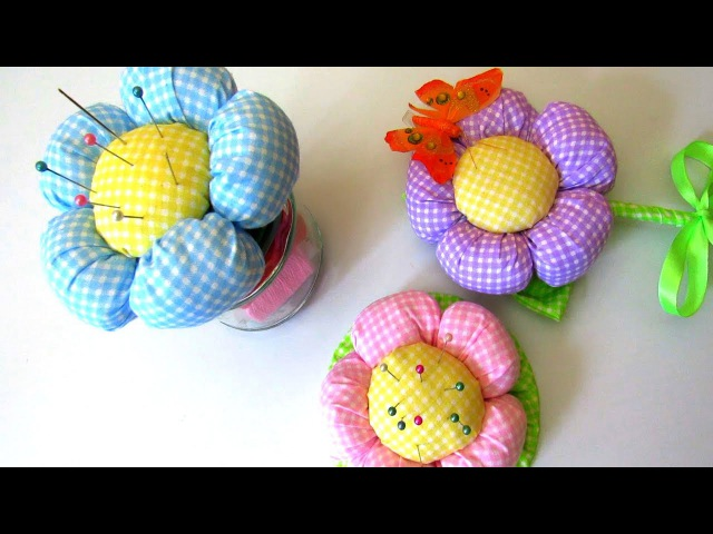 How to Make Simple Fabric Flower 3 DIY Ideas Pincushion Jar Topiary Tutorial Crafts