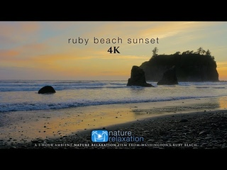 Ruby Beach Sunset 4K | 1HR Real-Time Sunset + Ocean Sounds by Nature Relaxation™ - Washington State