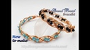 Double 3 wire braid bracelet with small crystal How to make handmade jewelry 489