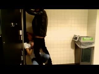 Real college slut sucks my cock in the library bathroom
