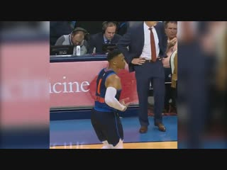 Russ doing the rocking-the-baby celebration against Fox? 😂