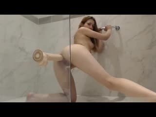 I play in the shower with a big dildo and cumming milk out a fucked-up ass