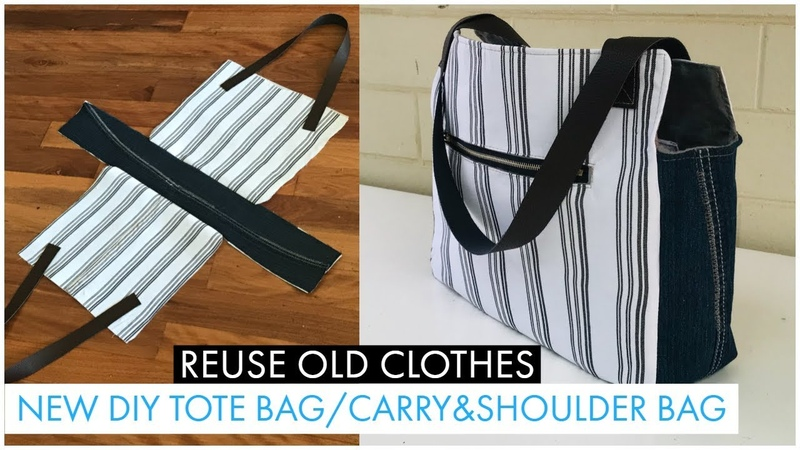 DIY BAG TOTE BAG WITH ZIPPER CARRY SHOULDER BAG FROM JEAN OLD CLOTHES RECYCLING BOLSA DIY กระเป๋าผ้า