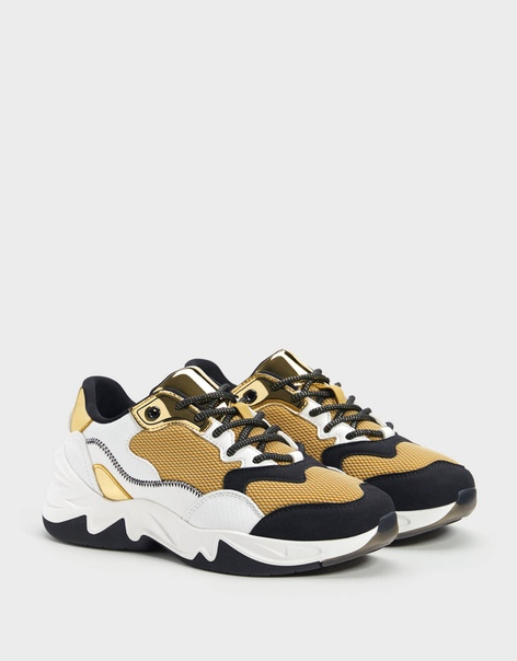 Комбинированные кроссовки с золотистыми деталями