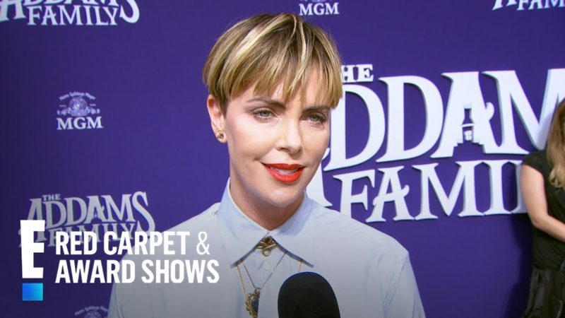 Charlize Theron Inspired by Anjelica Huston's Morticia | E! Red Carpet Award Shows