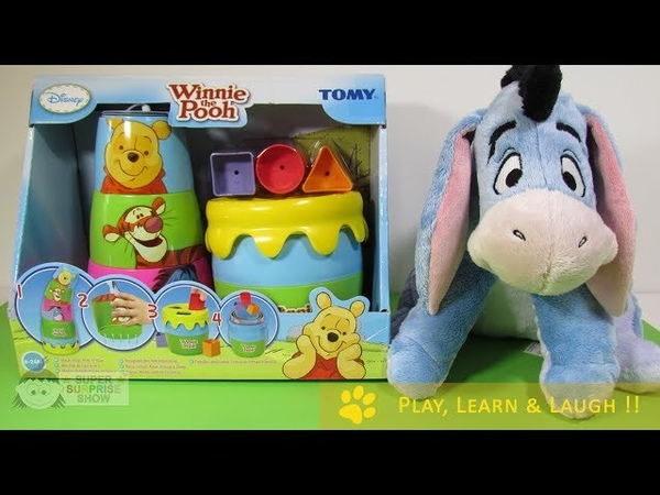 WINNIE the POOH Stacking TOY Stack, Pour, Post Play unboxing DISNEY TOMY 4 in 1 FUN
